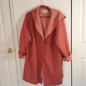 NWOT Rose pink casual coat, Woman Within 22/24